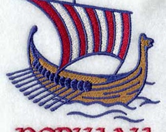 Norway Viking Ship Embroidered Kitchen Towel