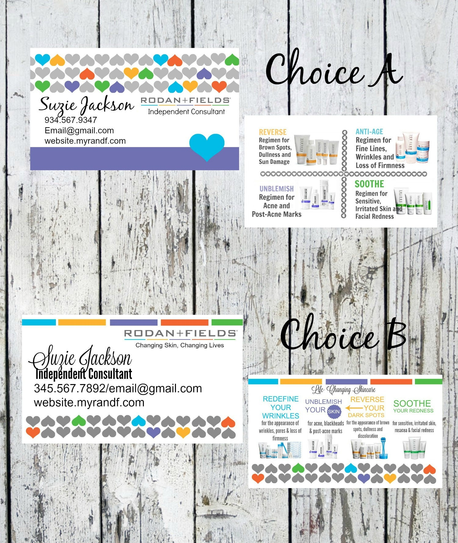 Rodan & Fields Business Cards Your Choice A or B Your