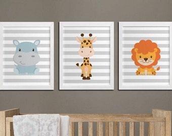 Nursery printable safari animals wall art set, lion hippo and giraffe nursery custom colors wall art, playroom wall decor instant download