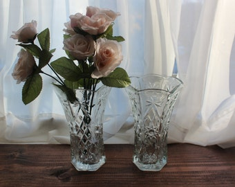 Set of 2 Cut Glass Vase Pair Star of David Pattern