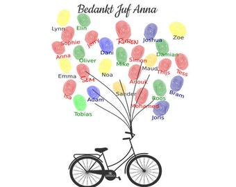 """Personalized print """"Bike"""": finalise it  with the fingerprints of all kids in class"""