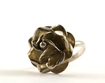 Vintage Mexico Rose Flower Ring 925 Sterling Silver RG 687-E