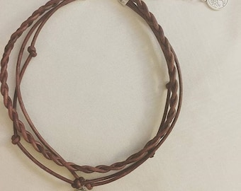 Triple Layered Leather Choker with Charm