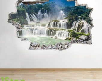 Waterfall Wall Sticker 3d Look -  Forrest Bedroom Lounge Nature Wall Decal Z95
