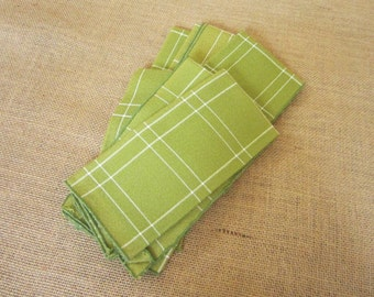 Vintage Olive Green Plaid Napkins, Set of 6