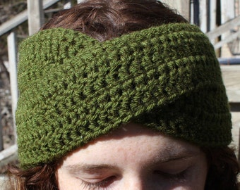 Criss Cross Crochet Headband, Button Closure, Cozy Winter Wear