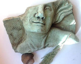 Cement face wall sculpture, feminine art, wall sculpture, garden sculpture, face sculpture, fragment, architectural, concrete face, wall art