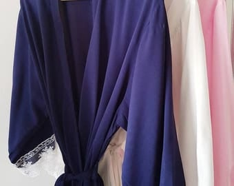 Bridesmaid Robes - 3 Colours /  Lace Robes / Lace Robe / Blue Bridesmaid Robe / Pink Bridesmaid Robe / bridal robe / personalised options