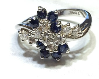 14kt White Gold Lady's Diamond and Sapphire Cluster Waterfall Exquisite Ring