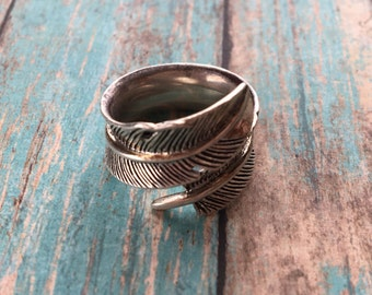 Vintage Native American Ring, Silver Feather Ring, Southwestern Ring, Southwest Ring, Southwest Jewelry