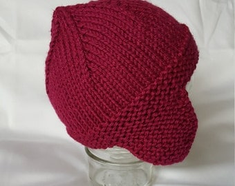Handmade Knit Magenta Baby Hat With Earflaps/Knit Baby Beanie with Earflaps/Knit Baby Toque with Earflaps
