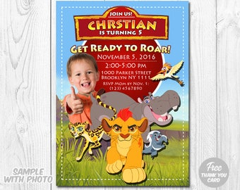 Lion Guard Invitation, Lion Guard Invitation with Photo, Lion Guard Birthday Invitation, Kion Invitation, Lion Guard Thank You Card