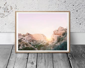 California Desert Print - Sunset Wall Art, Arizona Rocks, Digital Download, Boho Decor, Southwestern Print, Wild Land, Pastel Sunshine Print