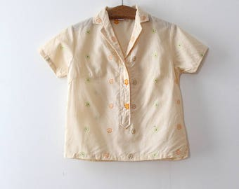 NOS vintage 1960s blouse // 60s yellow pullover button up top