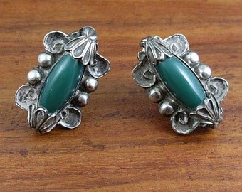 ANTIQUE Sterling Silver Screw Back Earrings - Tarnished