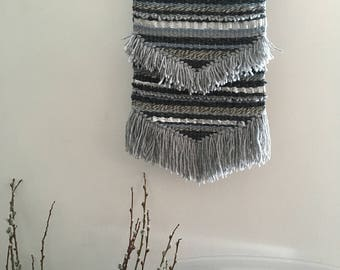 Woven wall hanging// Blue, grey, silver