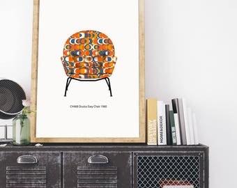 Hans J. Wegner Chair  - Mid Century Modern Classic - Digital Download Poster Print