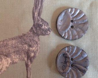 Pair of vintage grey sunburst buttons - 28 mm