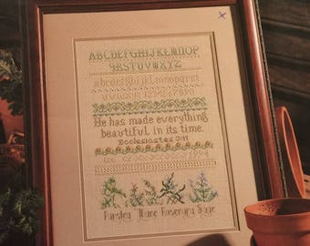 Counted cross stitch charts - Herb Samplers by Linda Culp Calhoun - 5 designs - Leisure Arts leaflet 2561