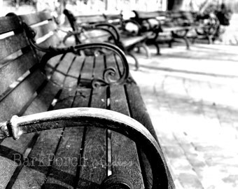 Row of Benches; Boston, MA; Winter; spiral; Urban photography; Black and White; bedroom; living room; office; study