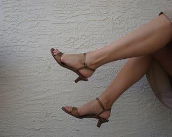 Bronze Leather Ankle Strap Kitten Heels / 8.5 US / 6.5 UK