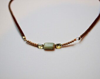 Bead and Suede Choker