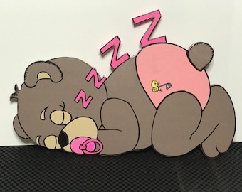 Sleeping bear wooden wall decor for nursery or children's room.