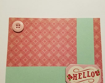 Hello Card, Pink and Green