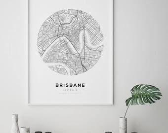 Brisbane Map Poster, Brisbane Map Art, Street Map Print, Stree Map Art, City Map Art, Brisbane Map, Brisbane, Australia Map Print, Wall Art