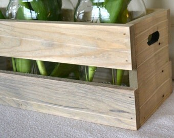 Wooden Crate Centerpiece, Rustic Wooden Crate, Quart Mason Jar Crate, Farmhouse Decor, Rustic Decor