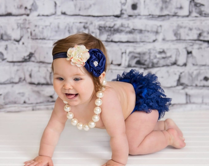 SALE!!! Baby Girls Outfit 4pcs, Navy Blue, baby set, ruffled bloomers, photo prop, birthday outfit, cake smash, baby tutu, flower headband