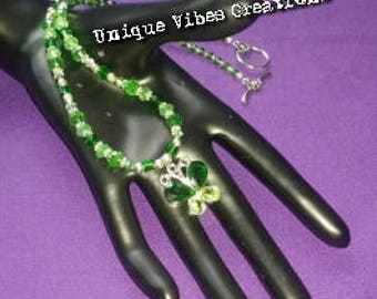 Green Crystal Butterfly Pendant, Hand Beaded Swarvoski Necklace