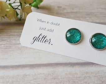 Glitter earrings, Teal earrings for sensitive ears, Bridal party gifts, Cute jewelry gift, Sparkly earrings blue, Birthday gift for sister