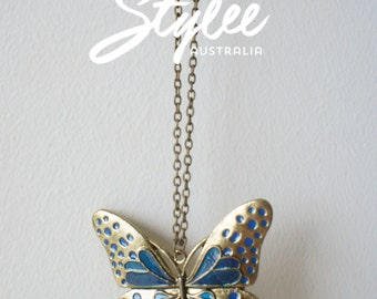Butterfly Stainless Steel Pendant and Chain Necklace
