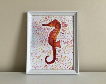 Seahorse Watercolor Print, Seahorse Print, Seahorse Painting, Watercolor Seahorse,