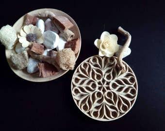 R03-Rosette decorative wooden mandala in layers in 3D. Laser cutting