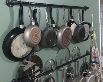 Kitchen Pots and Pans Hanging Wall Storage | Hanging Rack | Kitchen Rack