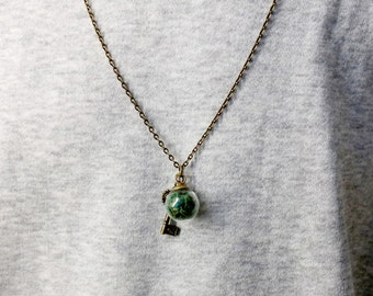 Moss Orb Necklace Copper Key Charm Pendant For Women/ Girls