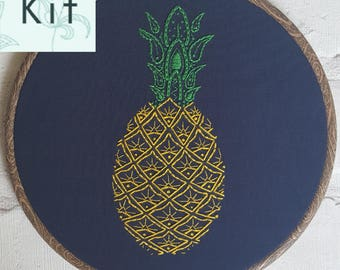 Embroidery Kit - Paisley Pineapple - DIY Kit - Sewing Project - Contemporary & Modern Embroidery - Craft Kit