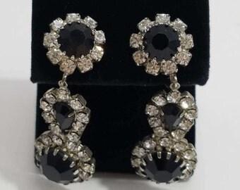 Beautiful Chandelier Style Clip Earrings with Black & Clear Rhinestones