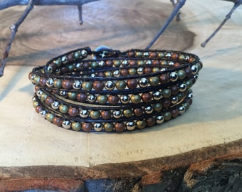 Wrap leather and metal bracelet