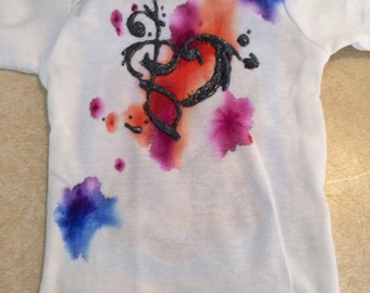 Infant/Toddler/Children's watercolor musical heart note top