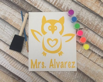 Personalized Owl Canvas Craft (8x10)