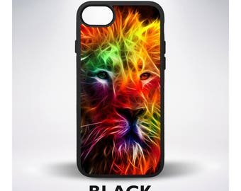 Lion Neon African Animal Fractal Phone Case for iPhone 7 iPhone 5 iPhone 6 iPhone 7 Plus iPhone 6 Plus iPhone SE iPhone 4 Samsung Galaxy