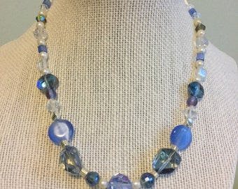 "Vintage Beads -  ""Periwinkle""  Upcycled Necklace - Jewelry Made with Vintage/ Recycled Materials"