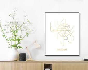 GOLD FOIL Metro Map,Moscow Subway,Map Print, Moscow Metro Map, Poster,Subway Map Print,Vintage Map Retro,Metro Map Poster,MAP,Subway Map