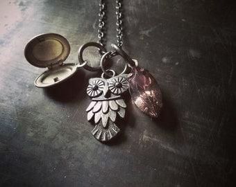 Owl & Locket Necklace // Charm Collectors // Topaz Navette Rhinestone // Antiqued Aged Brass Chain // Oval Keepsake Pendant // Woodland