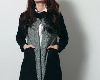 Handmade woolen jacket/cardigan with big pockets
