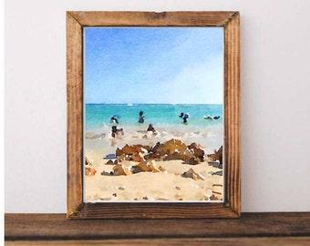 Jamaican Beach Watercolor Print