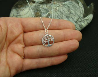 Tree of Life necklace, Sterling Silver necklace with Sterling Silver 14mm Tree of Life pendant
